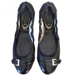 TOD'S black leather ballerinas patent toe