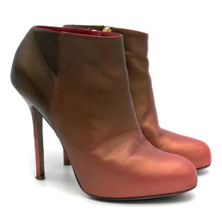 Sergio Rossi Pink and Brown Boots