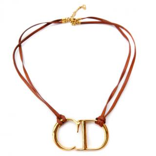 Christian Dior Vintage Monogram cord choker necklace.