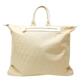 Fendi Beige Nylon Boston Bag