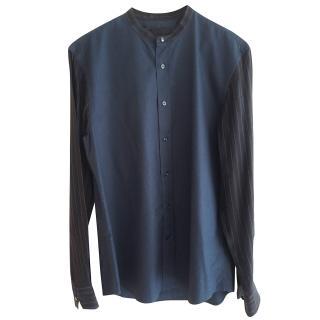 Alexander McQueen Navy Cotton Shirt/Striped Silk Sleeves