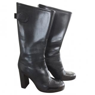 Acne black leather heel boots