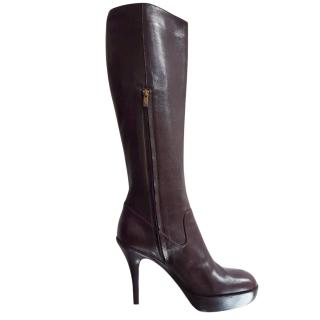 Yves San Laurent Brown Leather  Boots