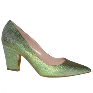 Rupert Sanderson Green Pierrot glittered canvas pumps