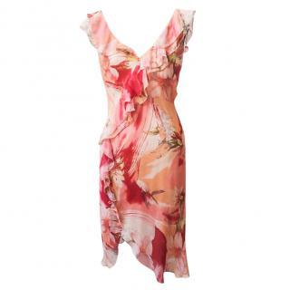Blumarine Floral Silk Dress