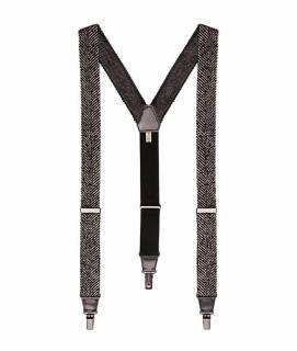 Bottega Veneta  runway Herringbone tweed-leather Braces