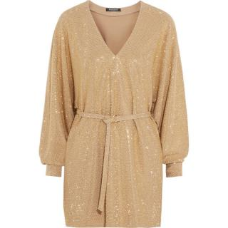 Balmain sand stretch-jersey gold studded dress