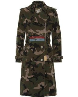Valentino Embellished camo cotton-canvas trench coat