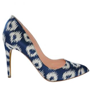 Rupert Sanderson Malory Magenta Ikat Blue/White Hight Heel Pumps