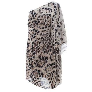Halston Heritage One-Sleeve Draped Printed Silk Dress