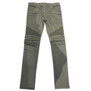 Balmain Mens Khaki Jeans