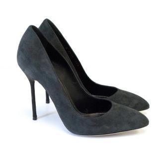 Sergio Rossi Godiva Grey Suede Heels