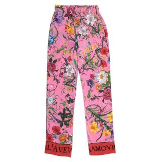 Gucci Floral Snake Print Silk Trousers