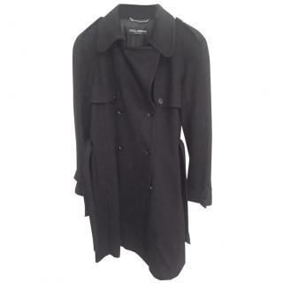Dolce Gabbana black military style coat