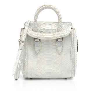 Alexander McQueen White Snake Skin Mini Heroine Bag