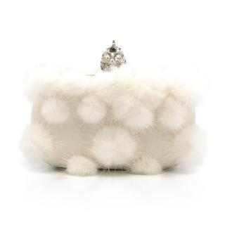 Alexander McQueen White Skull and Fur Clutch