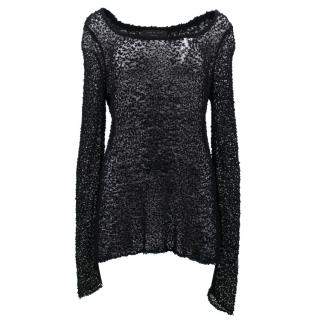 Rag and Bone Black Wool See Through Jumper