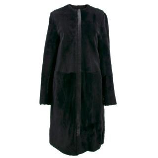 McQ Alexander McQueen Black Shearling Coat