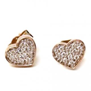 Pave Diamond Heart Earrings 9ct Gold
