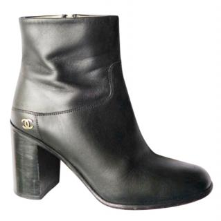 Chanel black ankle leather boots