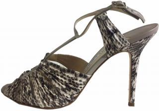 Jimmy Choo Snake Print Leather Sandals.