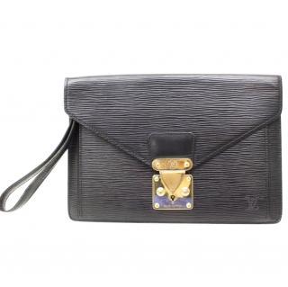 Louis Vuitton Sellier Dragonne 10631 Black Epi Clutch