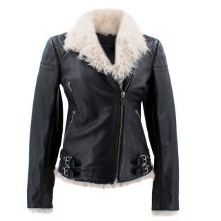 McQ Alexander McQueen Black Fur Leather Biker Jacket