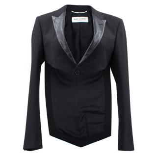 Saint Laurent Black Cropped Tailcoat Jacket