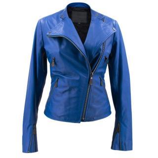 McQ Alexander McQueen Cobalt Shrunken Biker Jacket