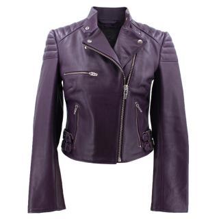 McQ Alexander McQueen Purple Cropped Biker Jacket