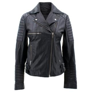 McQ Alexander McQueen Black Leather Biker Jacket