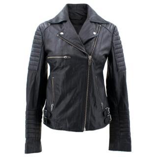 McQ Alexander McQueen Black Leather Biker Jacket