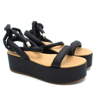 MM6 Black Puff Strap Platform Sandals