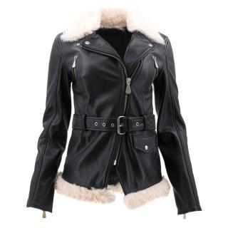 McQ Alexander McQueen Black Long Shearling Jacket