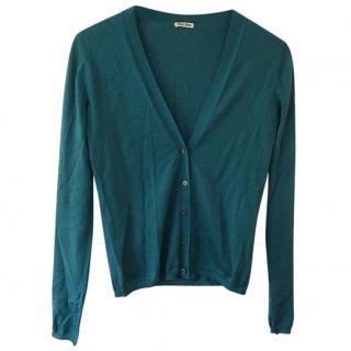 Miu Miu Teal Green Cashmere & Silk Cardigan