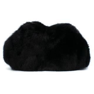 Alexander McQueen De Manta Black Fur Clutch