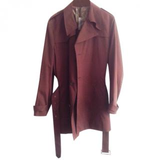 Pierre Cardin Mens Trench Coat, Bronze Cotton-Silk, full lining