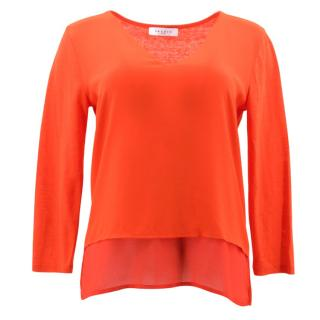 Sandro Red Silk Long Sleeve Top