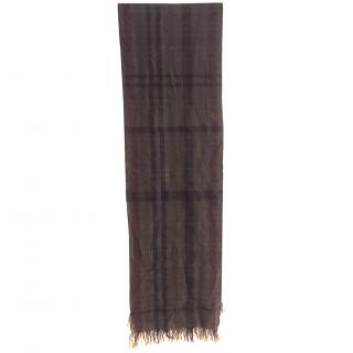 McQ by Alexander McQueen Army Green Woven Check Wool Scarf