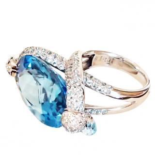 Simon & Igal Blue Topaz & Diamond Ring 18ct gold