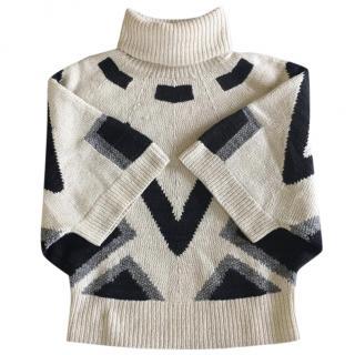 RALPH LAUREN hand knit cream graphic print turleneck sweater