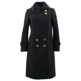 Gucci Black Fur Trim Coat