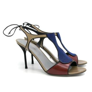 Sergio Rossi Blue and Cherry Heeled Sandals