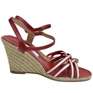 Paul & Joe red and white leather ladies wedges