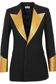 Saint-Laurent Tuxedo gold goat leather detail jacket