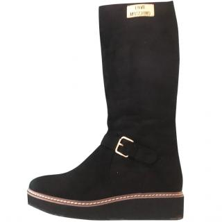 Moschino black suede boots
