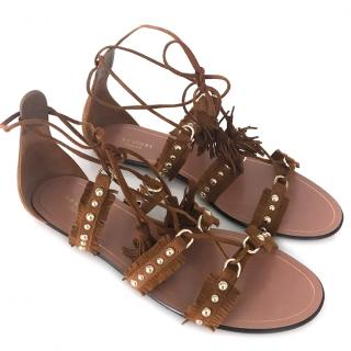 Aquazurra camel brown suede studded gladiator sandal