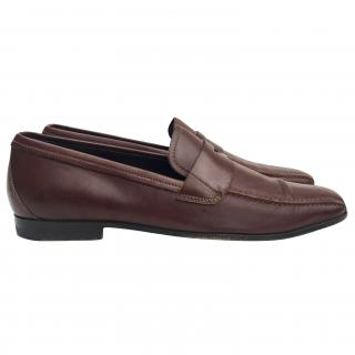 Prada dark brown leather loafers
