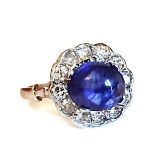 Sugarloaf Sapphire & Diamond Ring 18ct gold