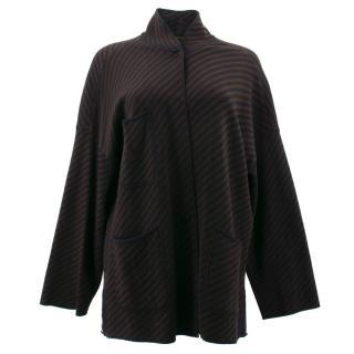 Fendi Brown and Black Striped Wool Cardigan